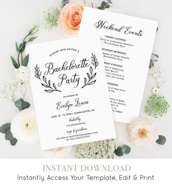 Bachelorette Party Invitation Template, Printable Bachelorette Itinerary / Agenda, Instant Download, Fully Editable, Digital #027-102BP