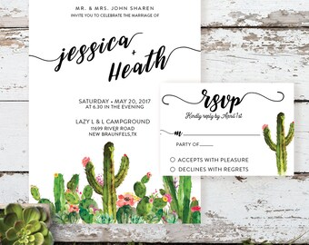 Cactus Succulent Desert Modern Wedding Invitation Printable or Custom