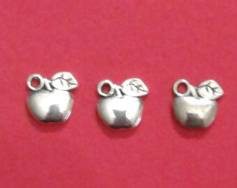 Apple Silver Tone Charms (3 Pieces & 2 Sided)