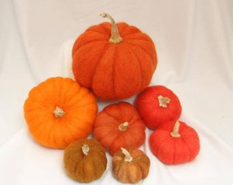 Set of 7 needle felted Pumpkins - multi colors