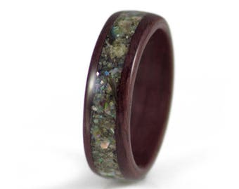 Purpleheart Wooden Ring With Abalone - purple ring, purple engagement rings, engagement rings for women, wood inlay ring.