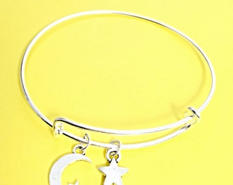 Silver moon charm bracelet, moon star bangle, moon charm, star pendant, crescent moon jewelry,gift for her, silver, moon, stars, to the moon