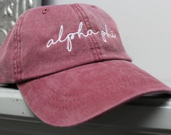 Alpha Phi Hat Embroidered in White Script