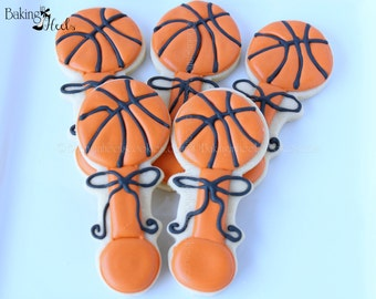 Basketball Baby Rattle Decorated Cookies, Baby Rattle Cookies, baby cookies, It's A Boy Cookies, Baby Shower Cookies, 1st Birthday Cookies
