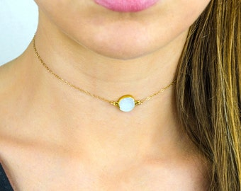 Dainty white druzy Choker Necklace, Simple Gold Choker Necklace, Sterling Silver Bridesmaid Necklace, druzy Necklace, Gold Delicate Choker