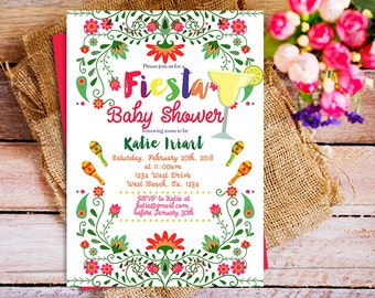 mexican baby shower invitation, mexican theme baby shower invitation, Fiesta Baby Shower Invitation Girl, Boy, girl fiesta baby Invitation