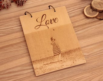 Personalized  wood Clipboard,  wood Ring board. Papper A5, A4. - 100sheets.  Love, Vintage car. Notepad. Notebook.