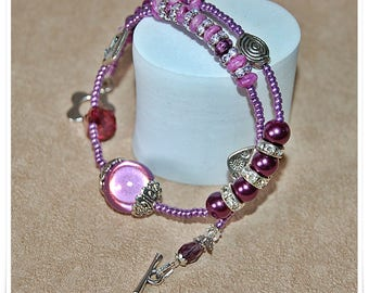Wrap bracelet rhodochrosite violet ladies bracelet Magic pearls Unikatschmuck beaded bracelet gemstone Wrap Bracelet