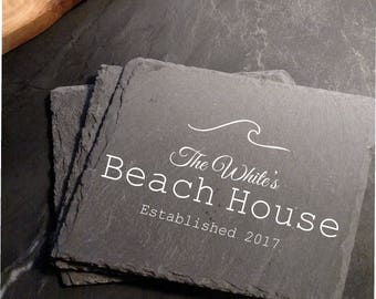 Engraved Personalized Beach House Slate Coasters (set of 4)