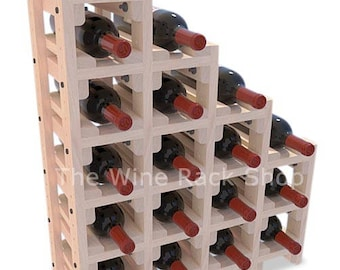 18 Bottle Waterfall Wine Rack - store your wine in a decorative wine rack cascade. Mahogany, Cherry, Tobacco, Black, and Slate finishes