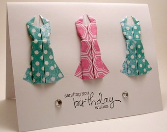 Mini Origami Dress Birthday Card (hot pink, teal)