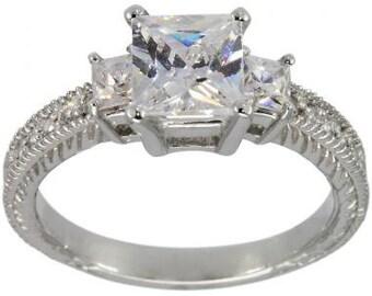 Statement Ring, 1 Carat Diamond Engagement Ring, Antique Engagement Ring, Filigree Ring, Princess Cut Engagement Ring, 14K Gold Ring