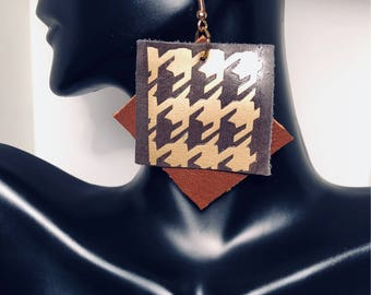 Brown and Gold Leather Houndstooth Earrings