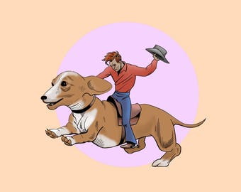 Western Fantasy Post Card for Snail Mail - Ride Em Dachshund  - Cowboy Breaking In a Doxie
