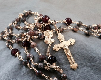 Small Leopard Stone and Cherry Qartz Vintage Style Yellow Brass Wire Wrapped Rosary