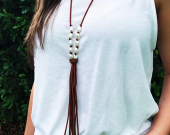 SEDONA // Freshwater Pearl Suede Necklace / Suede Tassel Necklace / Suede Tassel Necklace / Fringe Pearl Tassel Necklace