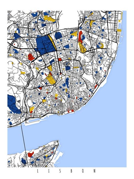 Lisbon Map Art Lisbon Portugal Wall Art Print Poster - lisbon map