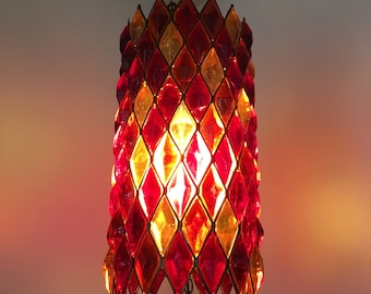 Mid Century Modern 1960s Psychedelic Hippie Lucite Diamond Swag Lamp  Vintage 1970s