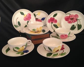 STETSON hand painted floral cups and saucers/ Vintage Stetson / TEA PARTY