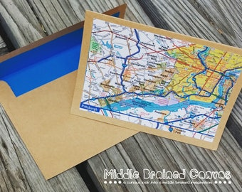 Note Cards and Gift Tag Set, Stationery, Maps, Atlas, gift for her, blank cards, stationary, letter, snail mail, thank you cards