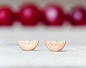 Tiny Watermelon Stud Earrings Tutti Frutti Sterling Silver Tropical fruit Stud Everyday Earrings Simple dainty earrings Summer