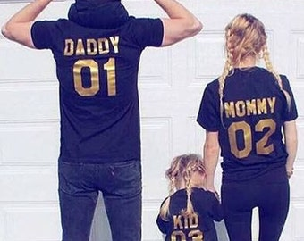 Family Team T-shirts  Family jersey shirts/mommy and me dad 01 mom 02  baby shirt team mom team baby team dad/family matching//