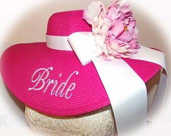 Monogrammed Pink Bridal Bride Wedding Party Floppy Hats. Mother of Bride, Sister of Bride,  Colors,
