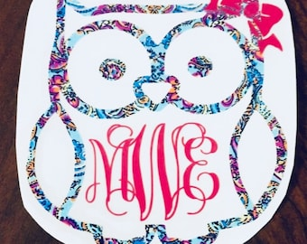 Owl Floral Monogram Decal Sticker