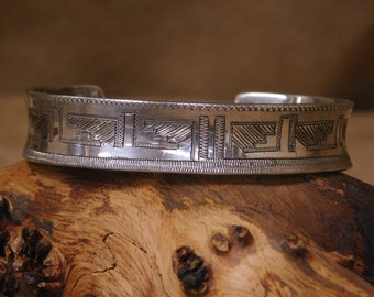 Vintage Hopi Sterling Silver Cuff Bracelet by Howard Sice