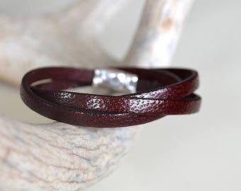 Burgundy Leather Bracelet, Wrap Bracelet, Leather Bracelets For Women, Wrist Straps