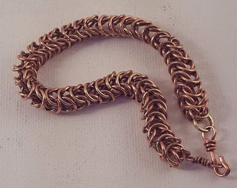 Copper Box Weave Chainmaille Bracelet