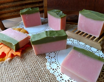 Raspberry Fields Bar Soap Pink and Green Soap