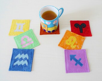 Aria & Fuoco coasters PDF sewing pattern - applique pattern - zodiac signs pattern - coaster pattern - instant download sewing pattern