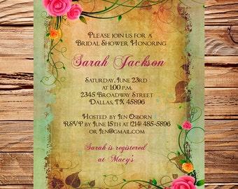 Vintage Bridal Shower Invitation,Roses, Pink, Brown, Vintage, Roses Bridal Shower, Baby Shower, Roses, Roses Frame,Brown, 5265