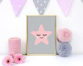 Star Poster, Star Kids Print, Nursery Print, Wall Art, Kids Room Decor,Star Art Print, Baby Print Poster,Nursery Room Decor, Pink Star Print