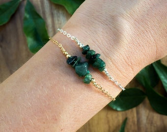 Emerald bracelet - Emerald beaded bar bracelet - Genuine emerald chip bead bracelet - Precious gemstone bracelet