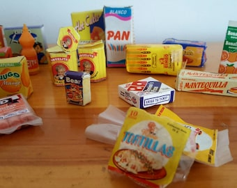 Miniature food Collection Mexican vintage products for dolls