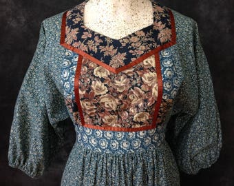 Vintage 1970's patchwork dress calico Young Edwardian by Arpeja boho hippie
