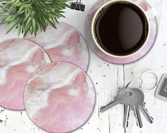 Pink Marble Coasters, Set of 4 Cork Back Pink Marble Coasters, Pastel Marble Coasters, Natural Stone Stone Coaster Set