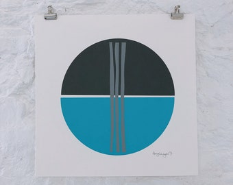 Original, one of a kind, abstract screenprint