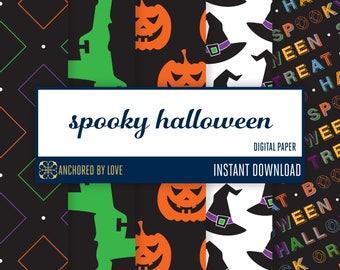 Halloween digital paper | Halloween scrapbook paper | Witch digital | Pumpkin digital paper | Frankenstein digital paper | Black Digital