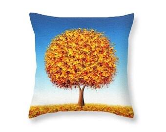 Golden Yellow Tree Pillow, Gold Tree Art Pillow, Rustic Home Decor, Pretty Decorative Cushion, Living Room Decor, Yellow Blue Accent Pillow