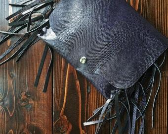Faux snakeskin clutch, fringe bag, club accessory, evening bag