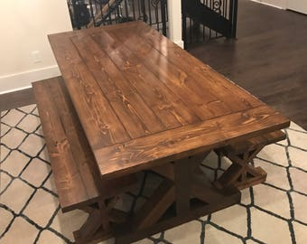 Industrial farmhouse trestle dining table **Local pickup/delivery only**
