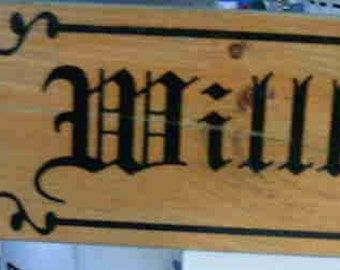 Wilkommen Welcome stained wood sign Shabby Country Primative Cottage German