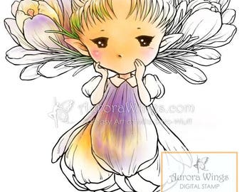 Digital Stamp - Crocus Sprite - digistamp - Whimsical Flower Fairy - Fantasy Line Art for Cards & Crafts by Mitzi Sato-Wiuff