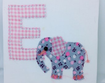 Animal Alphabet- 'E is for Elephant' - Vintage Shabby Chic Style Fabric, Patchwork Embroidery - Baby Initial Letter E - OOAK Nursery Decor
