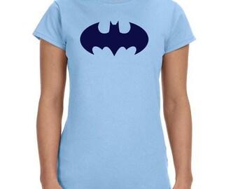 Batgirl/Batman logo comic tee, cute superhero tshirt--dc