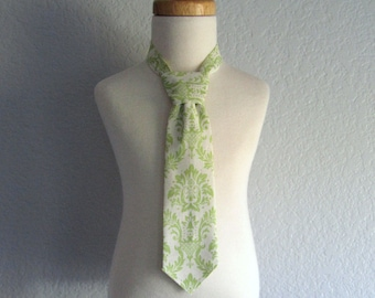 Little Boys Green Necktie or Bow Tie - Pre-Tied Necktie for Toddlers - Sage Green & Cream Damask - Self Fastening Tie - Size  XS, S, M, or L
