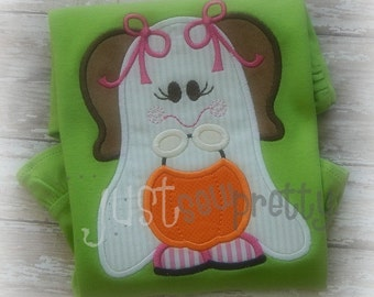 Little Ghost Girl Halloween Embroidery Applique Design